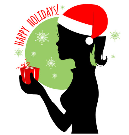 hat santa: Black silhouette of woman with gift and Santa Claus hat, vector image