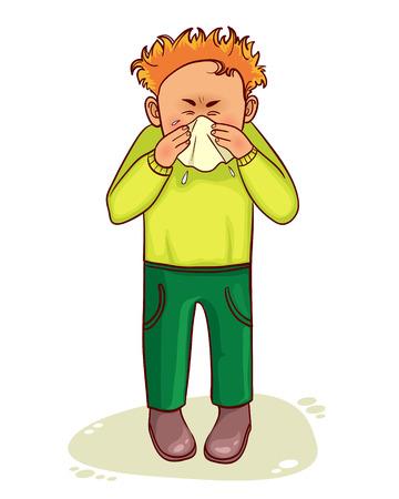 Ill little cartoon man sneezes, vector image Illustration