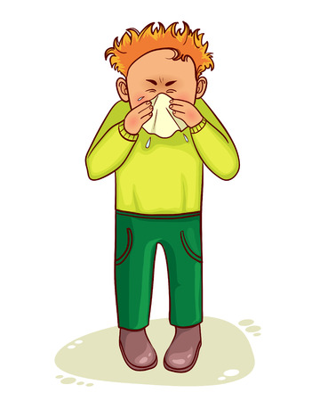 Ziek weinig cartoon man niest, vector
