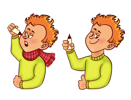 epidemic: Ill little cartoon man with cold before and after nasal drops, vector image