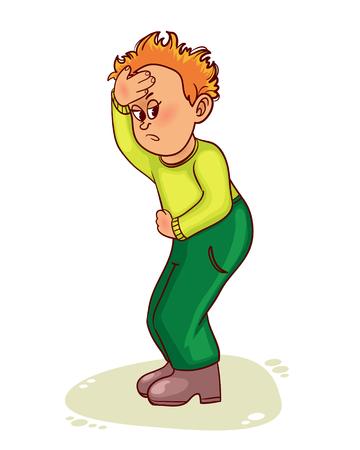 headache pain: Ill little man who has pain in stomach and headache, vector image