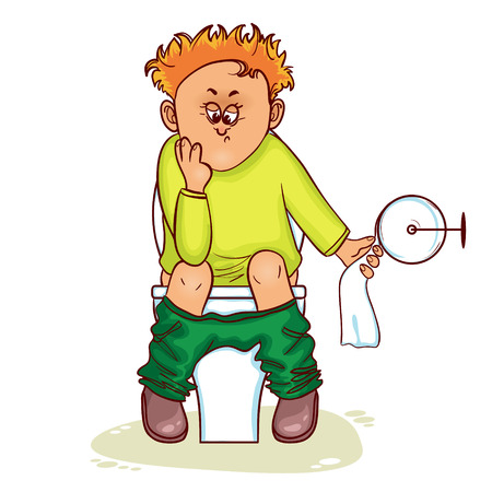 constipation symptom: Ill little man with stomach issues sit on lavatory in toilet, vector image