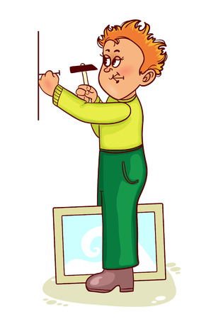 manual: Ill little cartoon man hammers a nail to hang a picture, vector image