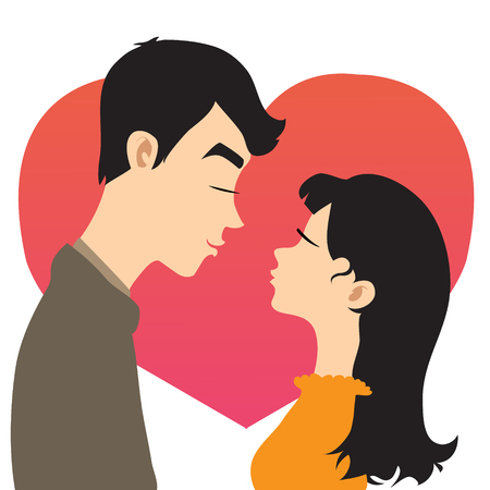 Young couple on the background with red heart, vector image