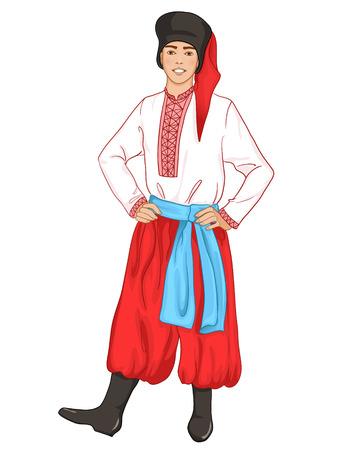 joven en la ropa tradicional de Ucrania