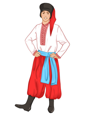 traditional clothes: young man in Ukrainian traditional clothes