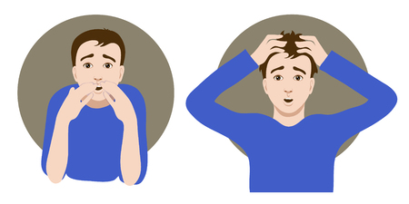 Two images of a scared cartoon young man, one clutches his head in horror, another closes his mouth with his hands