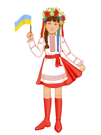 full length woman: Cute girl in ukrainian traditional clothes with flag in hand, vector image, eps10 Illustration