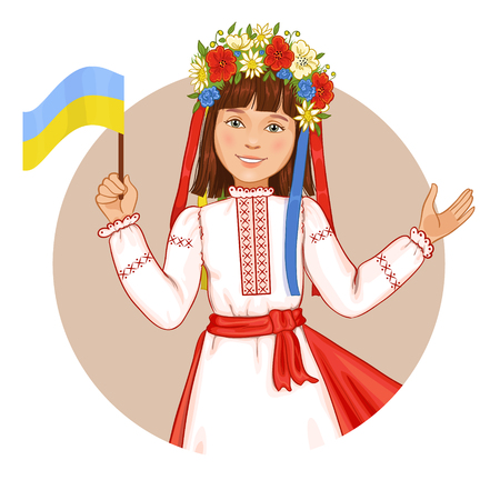 ukrainian flag: Cute girl in ukrainian traditional clothes with flag in hand, vector image, eps10 Illustration