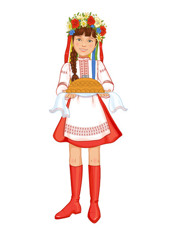 national: Cute girl in ukrainian traditional clothes with round loaf, vector image, eps10