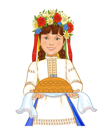ukrainian traditional: Cute girl in ukrainian traditional clothes with round loaf, vector image, eps10