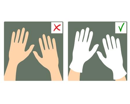 guantes: Conjunto de dos imágenes con las manos con y sin guantes, lo que, la imagen del vector es correcto y lo incorrecto