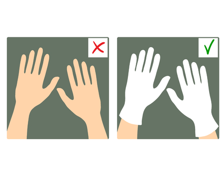 safety gloves: Set of two images with hands with and without gloves, what is right and wrong, vector image Illustration