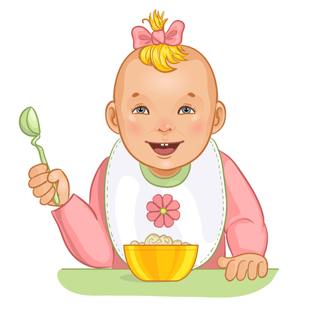 hungry: Baby girl with spoon and plate Illustration