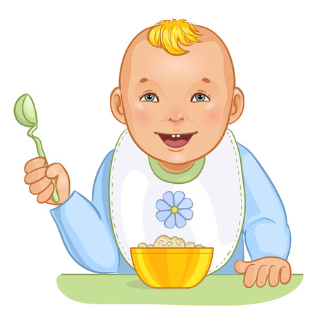 hungry: Baby boy with spoon and plate Illustration