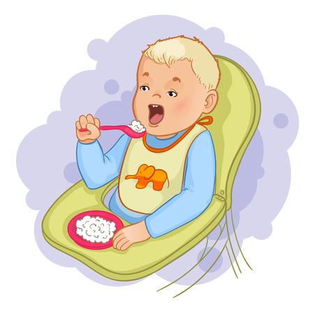 Baby jongen met lepel en plaat eet pap zitten in de kinderstoel Stock Illustratie