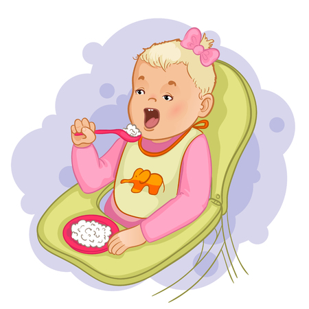 pap: Baby girl  with spoon and plate eats pap sitting in the baby chair Illustration