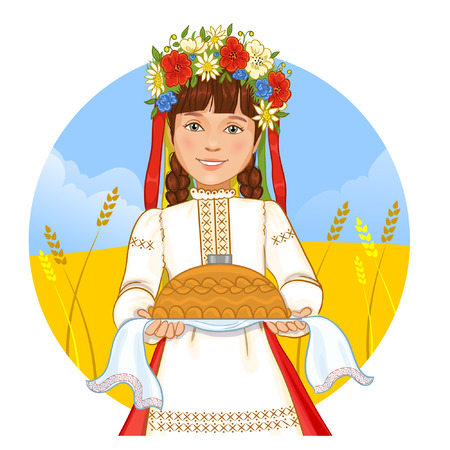 ukraine: Cute girl in Ukrainian traditional clothes with round loaf