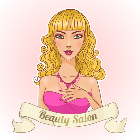 beauty shop: Beautiful cartoon girl with badge of beauty shop