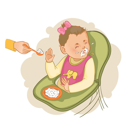 highchair: Baby girl sitting in the baby chair refuses to eat pap