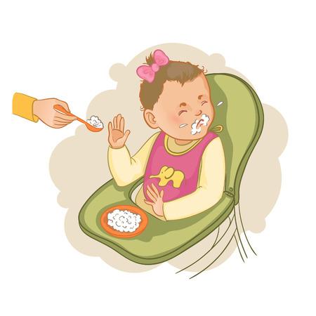 Meisje zitten in de kinderstoel weigert te pap te eten Stock Illustratie