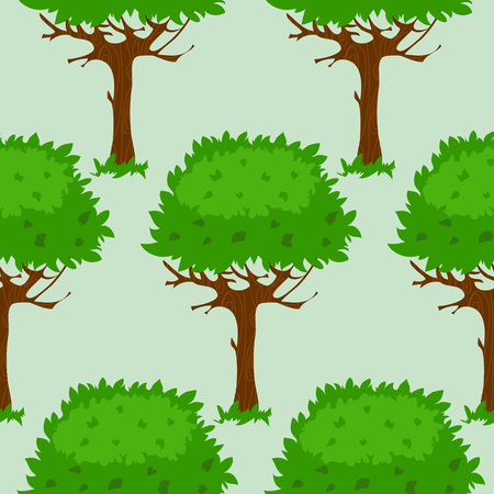 summer trees: Seamless pattern with cartoon green trees in summer or spring, image