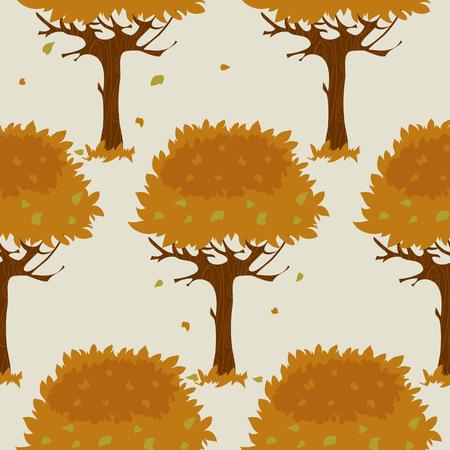 orange trees: Seamless pattern with cartoon orange trees in autumn, image Illustration