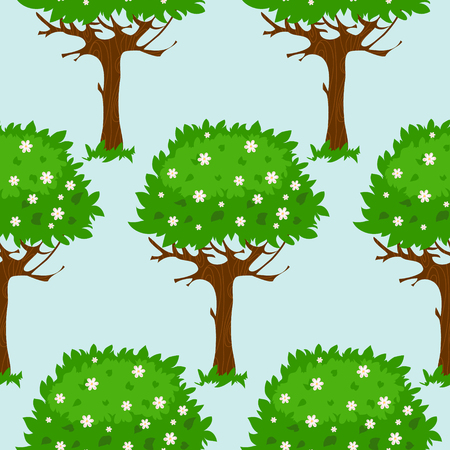 Seamless pattern with cartoon green blossomed trees in summer or spring, image