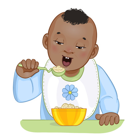 children eating: African american baby boy with spoon and plate