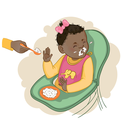 pap: African american baby girl sitting in the baby chair refuses to eat pap