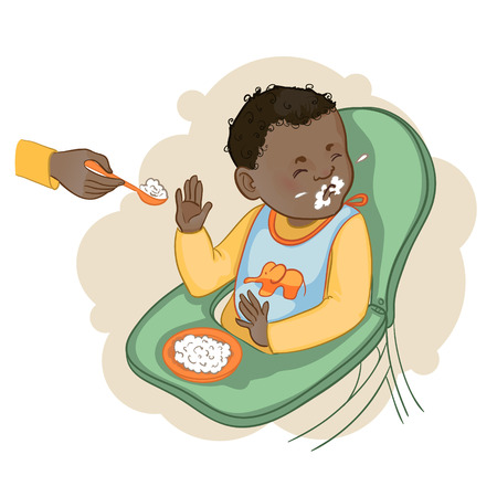 emotional: African american baby boy sitting in the baby chair refuses to eat pap, vector image, eps10 Illustration