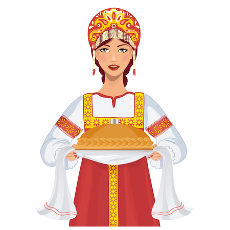 russian: Cute young woman in russian traditional clothes with round loaf Illustration