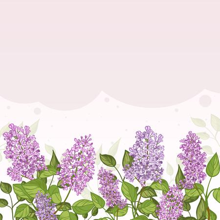 Floral dekorative Karte mit Flieder auf lila Hintergrund und Platz für Text