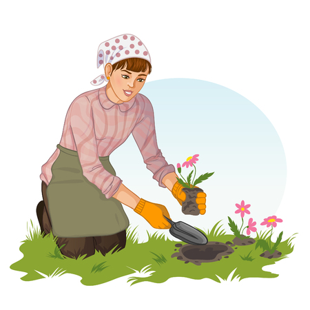 spring bed: Young woman who plants flower in garden, in on hand she has shovel, in another flowers with soil