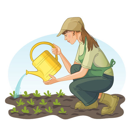 Young woman watering with can a bed in garden