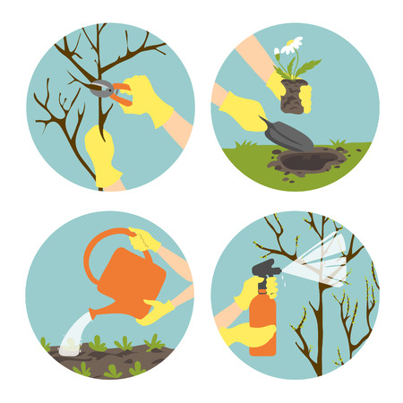 tree trimming: Icons set in flat design style with seasonal activities in garden Illustration