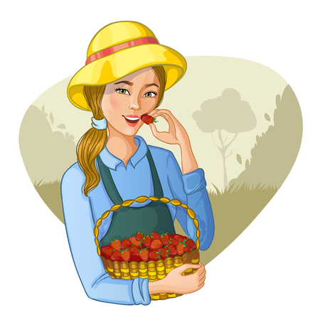 tastes: Young woman with basket full of strawberries tastes a berry