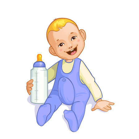 hungry kid: Smiling baby boy with bottle Illustration