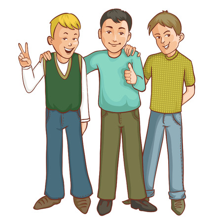 men cartoon: Three happy cartoon boys who support each other, vector image, eps10