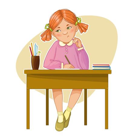 Ontevreden kleine meisje tijdens haar studeren zitten aan de balie, eps10