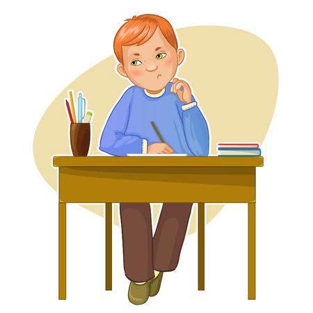 niño escuela: pequeño muchacho descontento durante su estudio de sentarse en el escritorio, eps10