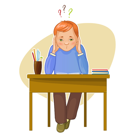 back problem: Perplexed boy during his studying sitting at the desk, eps10