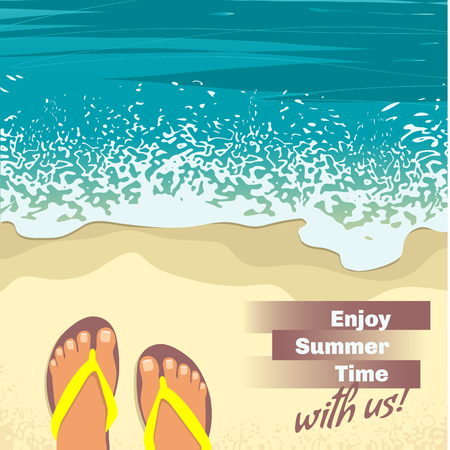 sandy feet: Summer background with sea, sand beach, feet in sandals and place for text, top view, image Illustration