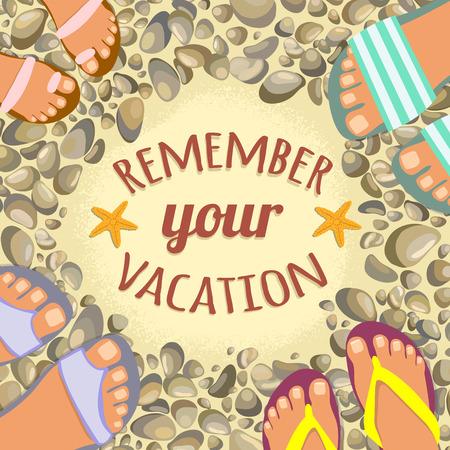 fond d'été avec du sable, des pierres, des pieds en sandales et place pour le texte