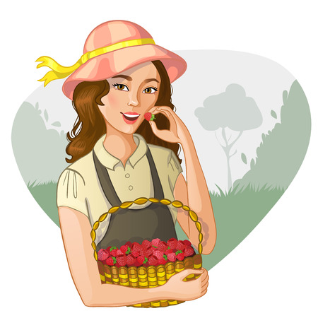 tastes: Young woman with basket full of raspberries tastes a berry