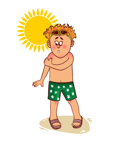 hot: Little cartoon man complains about burn on his skin from the sun, image