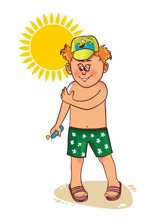 hombre de dibujos animados poco se aplica protector solar en la piel Ilustración de vector