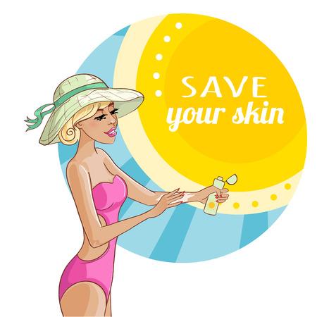 applying: blond girl applying sunscreen on her skin to prevent sunburn