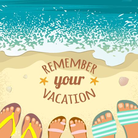 beach feet: Summer background with sea, sand beach, feet in sandals and place for text, image Illustration
