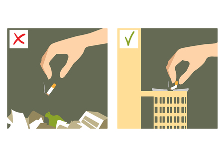 wastebasket: Set of two images with hand throwing cigarette stub on the floor and in the waste-basket, wrong and right sign Illustration